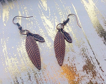 Antique Copper Colored Feather Earrings