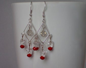 Silver and Red Beaded Chandelier Dangle Earrings