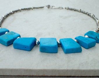 Chunky Turquoise and Seed Beed Necklace