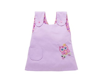 Embroidered OWL apron dress