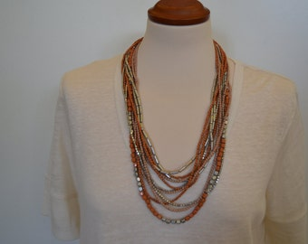 Multi Strand Orange and Silver Beaded Necklace