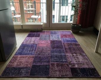 feel home degsign unique VINTAGE patchwork carpet original hand knotted purple 135 x 200cm 2, 70m 2