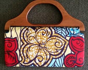Floral Wooden Handle Bag