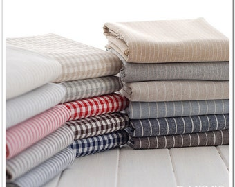 Check Plaid Striped Cotton Linen Blend Fabric for Curtain Bag Tablecloth DIY Handcraft