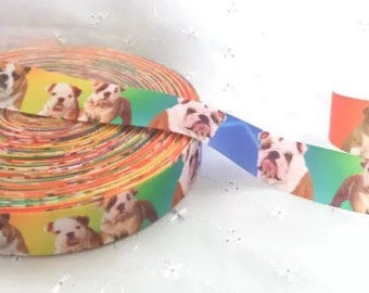 1m Fabulous Dogs Bulldog Puppies Grosgrain Ribbon 22mm hair bows bands cake gift wrap scrapbook dummy clip holder