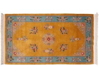 4x7 Peking Design Vintage Hand-Knotted Rug 022175