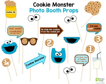 Cookie Monster Photo Booth Prop Instant Download