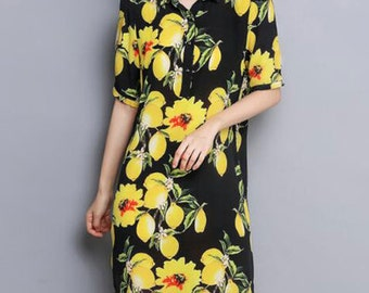 Lemon Contrast Dress (Comes in Plus Size) (Mommy and Me)