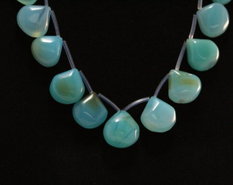Yummy ocean blue and green Chalcedony tear drop beads