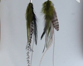 White Black and Olive green feather earrings
