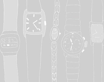 Art Print // 12:37 // Watches // Signed and Dated by the Artist // Gray & White