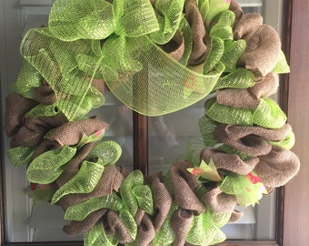 Spring/Summer Burlap Wreath - Burlap and Green mesh wreath