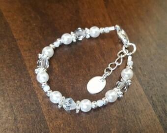 White diamond and pearl bracelet