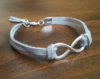 Grey leather infinity bracelet