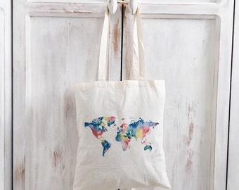 Cotton canvas cheap tote bag wanderlust travel world map rainbow