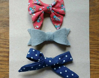 July trio. Cloth and felt bows. Handmade.