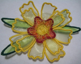 Free Standling Applique 3D Flower Project #395 ( Machine Embroidery Design from ATW )
