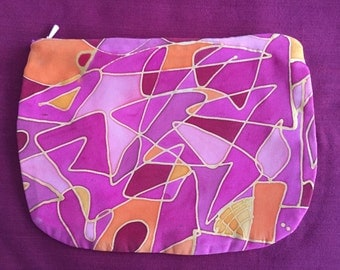 Silk pink pouch, hand-painted - proceeds for the Africa project