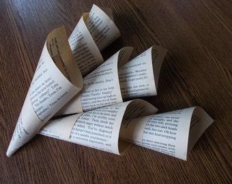 25 handmade confetti cones, petal cones, book page cones, vintage paper cones, wedding cones