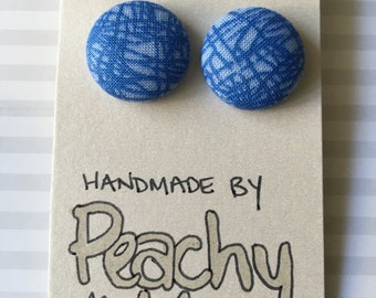 20mm Blue Etch Fabric Stud Earrings