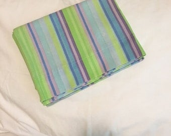 Vintage Pillowcase--HAPPY and Striped...Purples, Greens, Blue