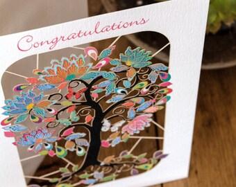 Tree of Life Congratulation Laser Greeting Card