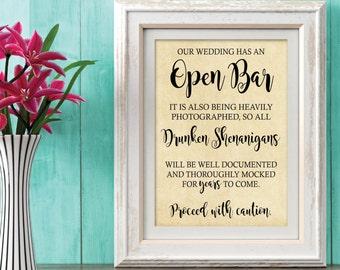 Open Bar Sign, rustic bar sign, wedding decorations, Bar sign for wedding, printable sign for bar at wedding