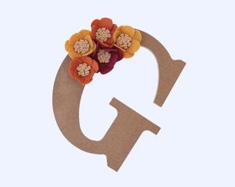 Wooden letters - felt flower letters - custom letters