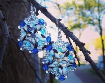 Blue Hexagon earring