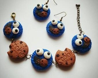 Polymer clay cookies  # earrings and bracelet # cookie monster # jewellery