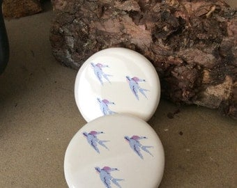 Set of two handmade ceramic coasters