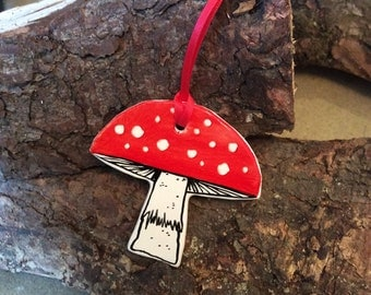 Handmade ceramic toadstool decoration