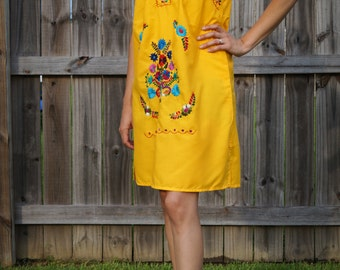 Vintage Mexican Dress Boho Embroidered