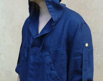 Hooded Linen Shirt with Long Sleeves and a Kangaroo Pocket