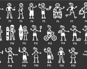 Stick People Family Car Decal Adult Female Characters