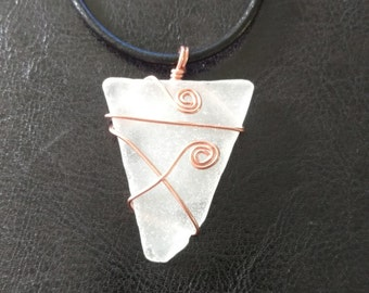 White Sea Glass Pendant Necklace with Copper Wire Wrap and Stainless Steel Chain. Handpicked, authentic beach glass from the Hudson River.