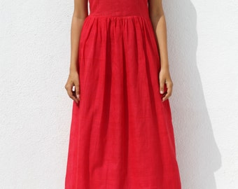 Handwoven red maxi dress