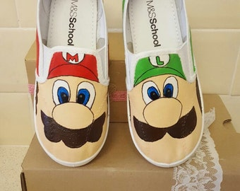 Mario and luigi hand painted custom painted slip on shoes kids uk size 11