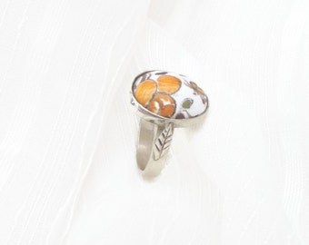 Shabby ocher yellow ring, sterling flower little ring, mustard faience ring, yellow little ring, outstanding orange ring.