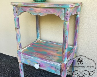 SOLD!! Cotton Candy Side Table made with Chalk Paint