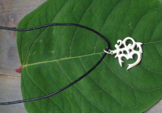 Ohm Pendant, Necklace With Sterling Silver Ohm, Om, Aum, Symbolic Jewelry, Yoga Jewelry, Yoga Gift, Hindu Gift, God Symbol, Cotton Wax Cord