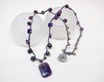 Purple lovers necklace, Crochet beaded necklace, Amethyst stone pendant, Purple stone beads and fresh water pearls
