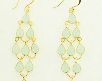 Chalcedony Earrings in sterling silver