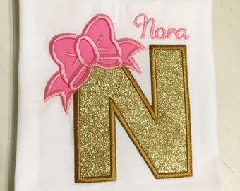 Name/Initial Shirt // Custom Baby Girl Shirt or Onesie // Toddler Girl Shirt // Outfit for Pictures