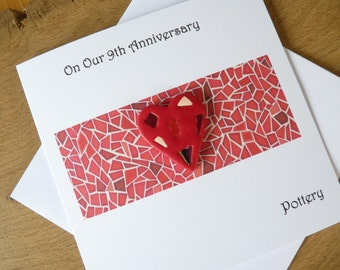 9th wedding anniversary card pottery ninth anniversary gift
