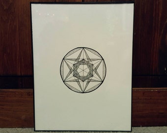 """4"""" Metatron's Cube with Dot and Line Fill"""