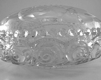 1950s Molded Glass Floral Pattern Double Bowl