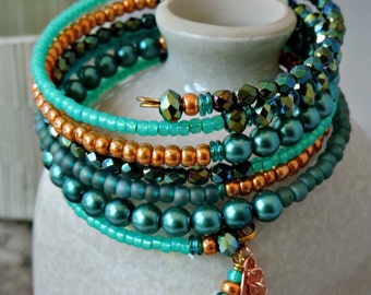 Memory Wire Bracelet. Memory Wire Wrap Bracelet. Beaded Bracelet. Czech Glass Bead Bracelet. Coil Bracelet. Cuff Bracelet. Stacked Bracelet