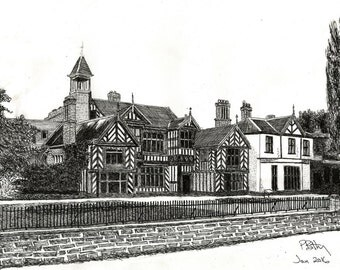 Pen & Ink Drawing, A4 - Wythenshawe Hall