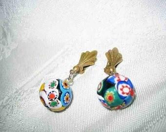 Vintage Venetian Millefiori Drop Clip on Earrings